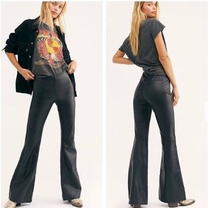 Free People Vegan Leather Bell Bottoms
